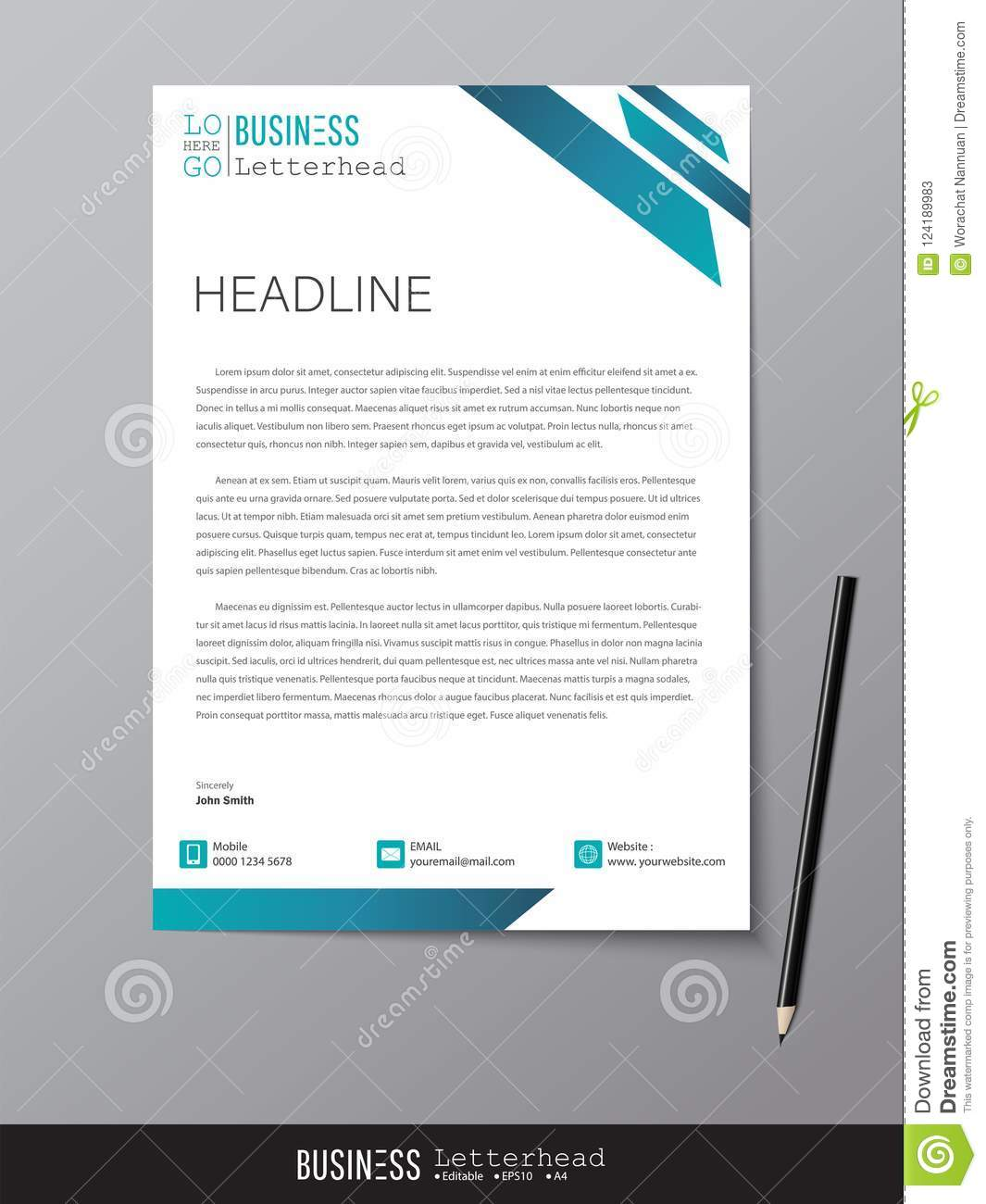 Letterhead Design Template And Mockup Minimalist Style Vector D
