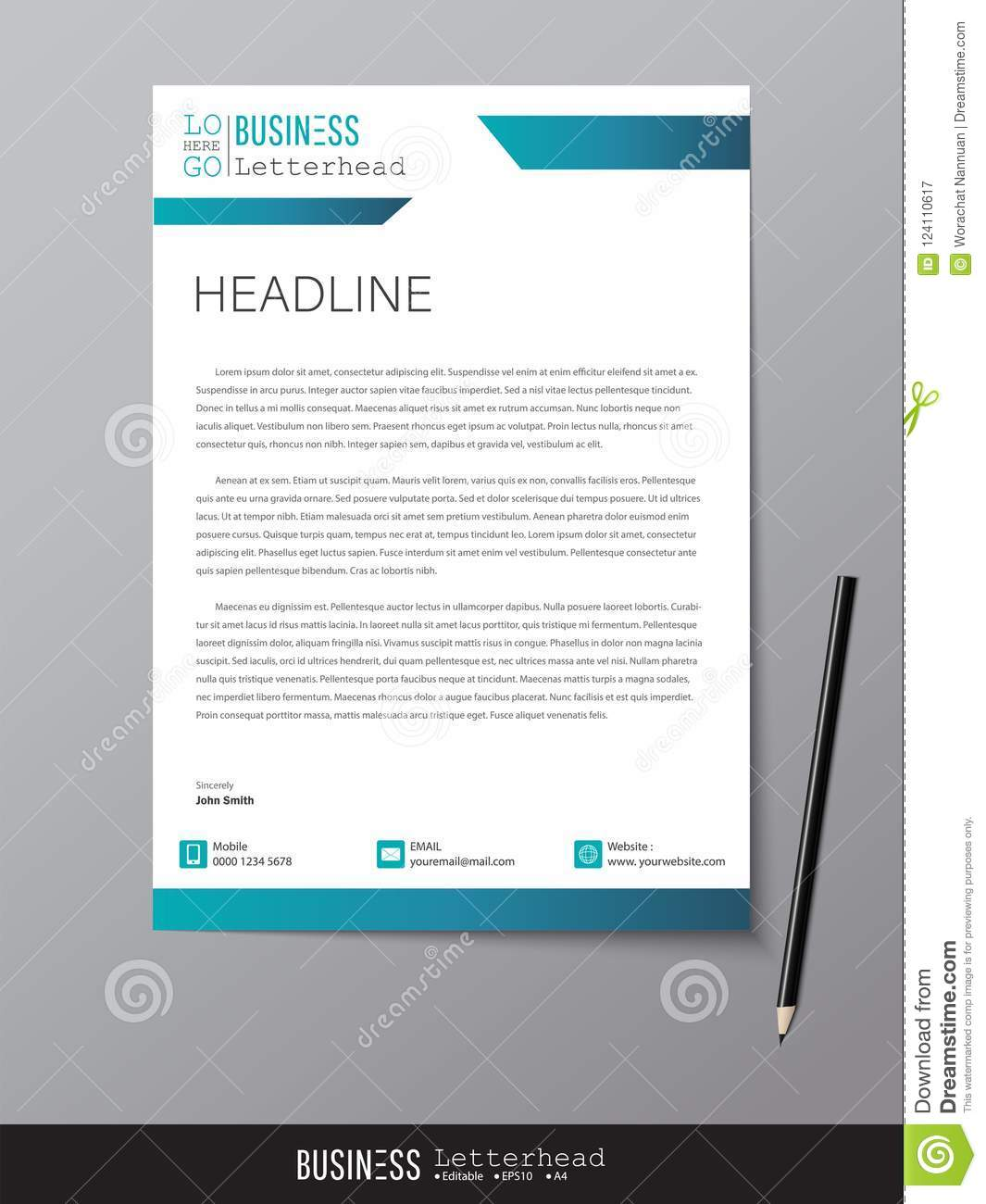 Letterhead Design Template And Mockup Minimalist Style Vector D Stock Vector Illustration Of Design Connection 124110617