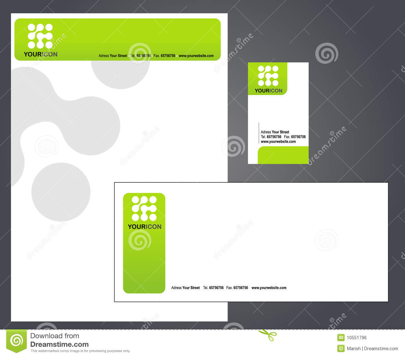 Letterhead Envelopes: Letterhead, Envelope And Business Card Stock Vector