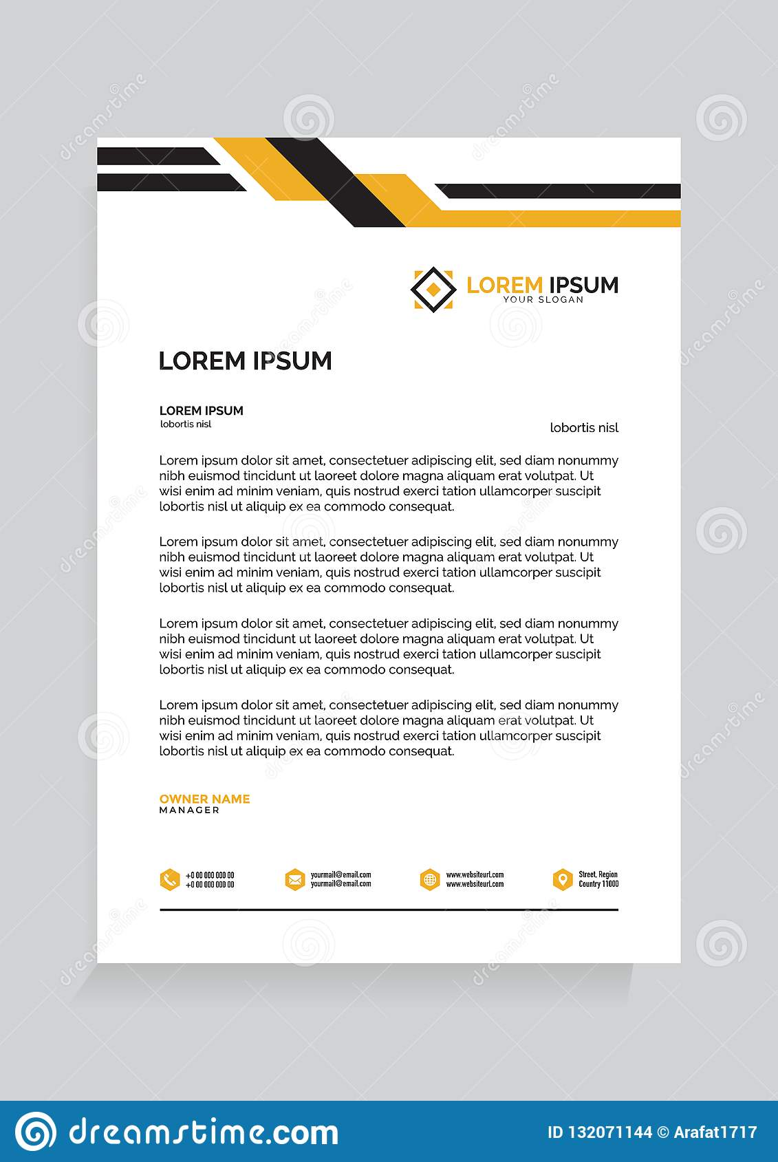 Letterhead Template Design Vector Illustration Stock