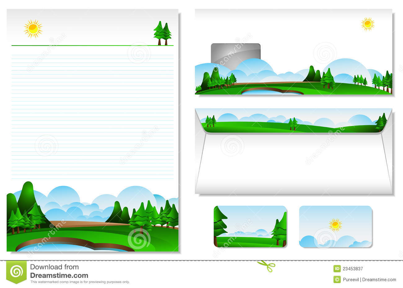 letterhead with the theme of landscape stock vector