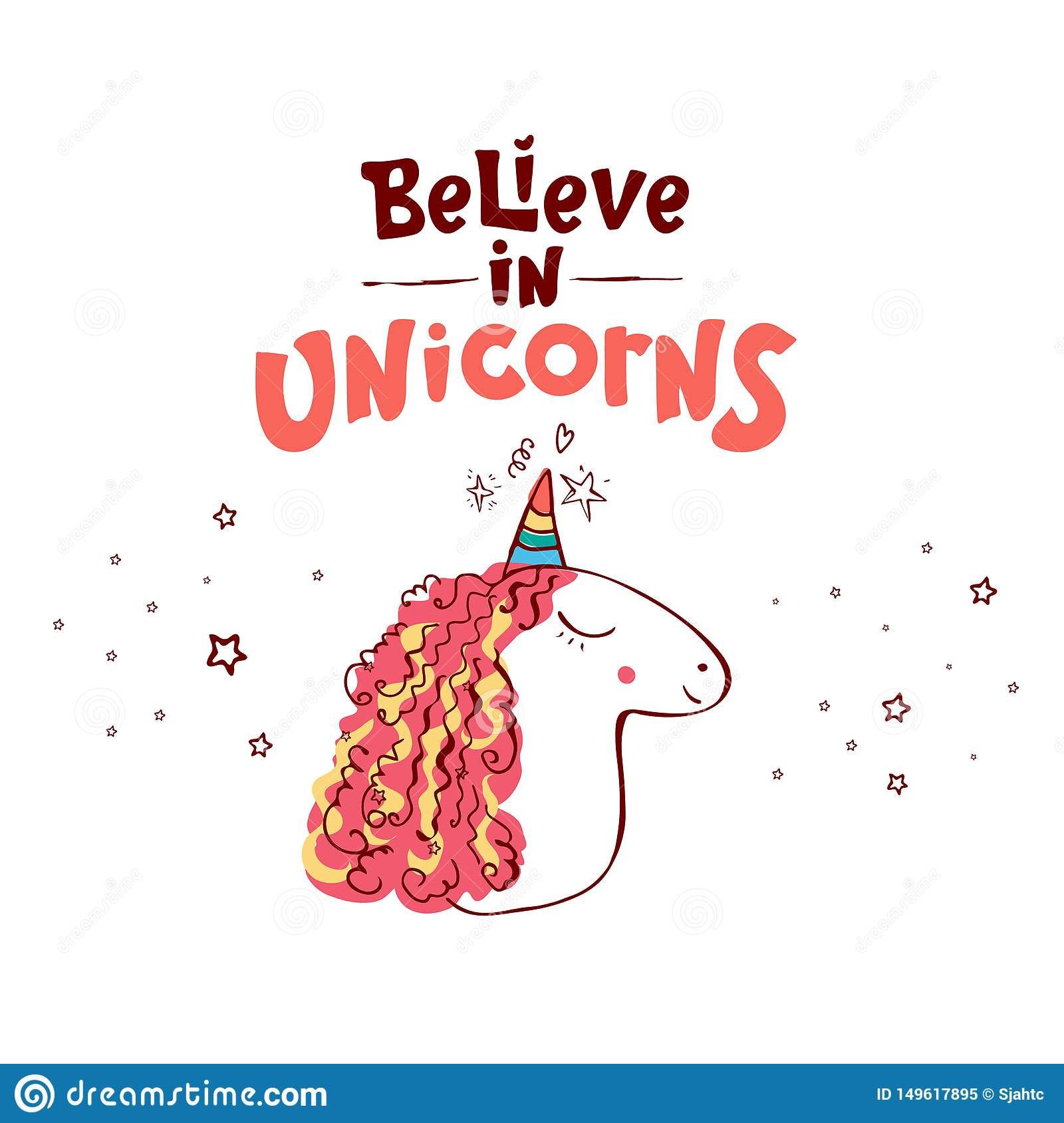 Lettering believe in unicorns text and unicorn. Vector illustration design. Cute poster, greeting card or apparel print