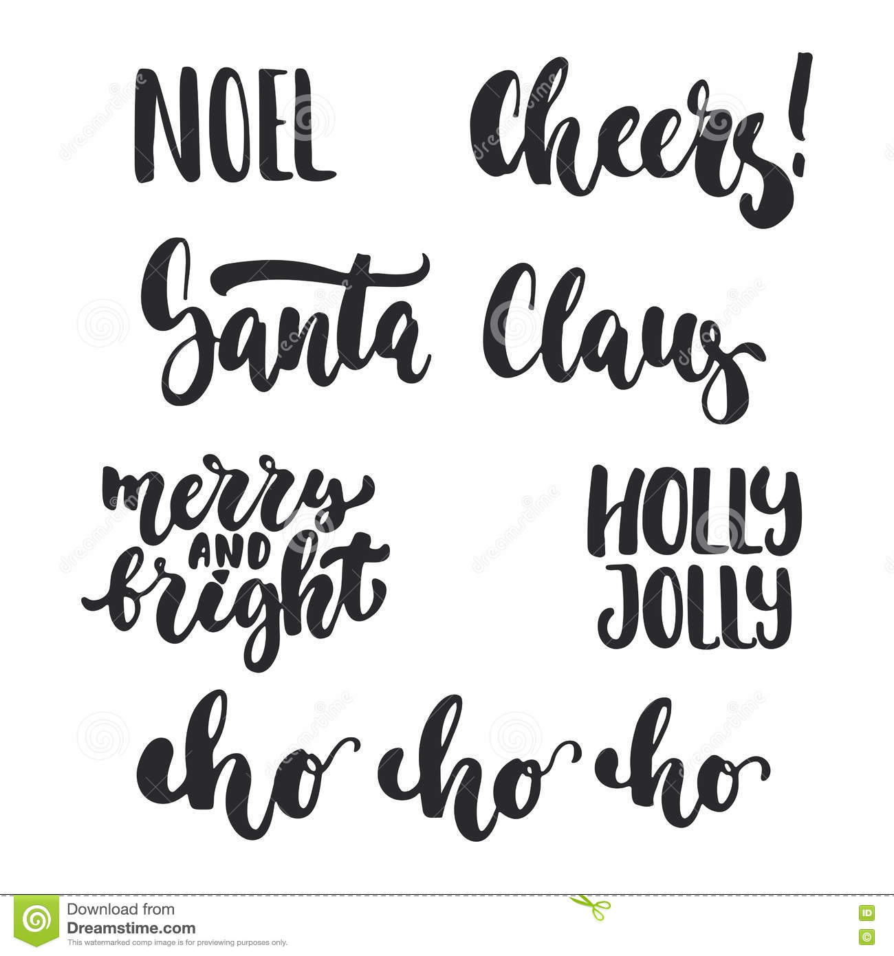 Lettering Christmas And New Year Holiday Calligraphy Phrases Photo ...
