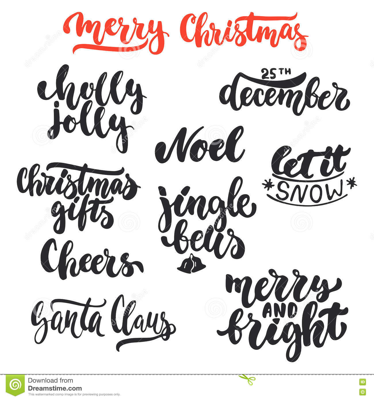 lettering christmas and new year holiday calligraphy phrases photo overlays set isolated on the white background - Christmas Overlays