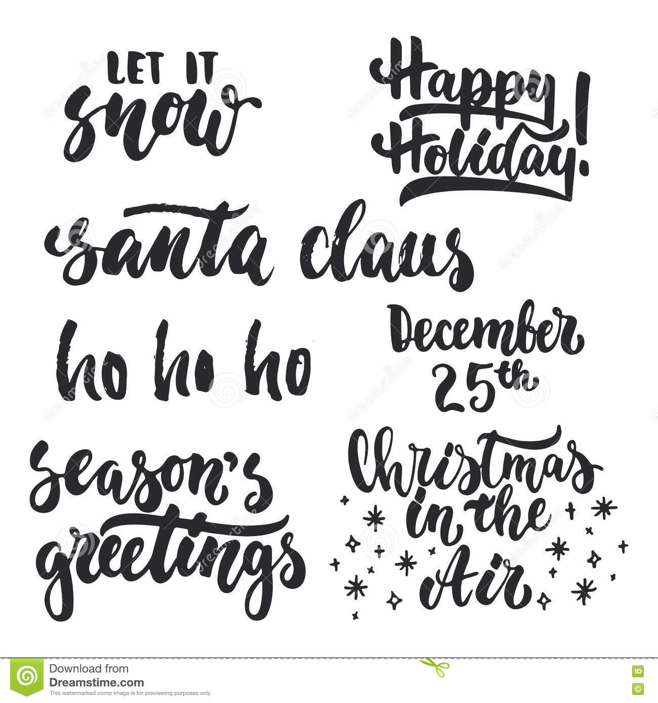 Merry Christmas Greeting Lettering. Season Vector Holiday Design ...
