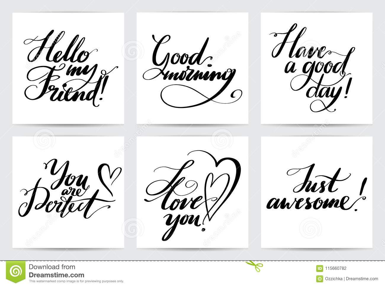 Lettering common phrases hand drawn creative calligraphy set lettering common phrases hand drawn creative calligraphy set vector calligraphy card collection for holiday m4hsunfo