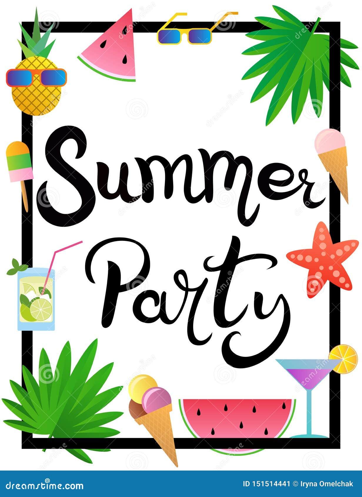 Lettering De zomerpartij Kader met watermeloen, ananas, roomijs, glazen, cocktail, zeester en palmbladen wordt verfraaid dat