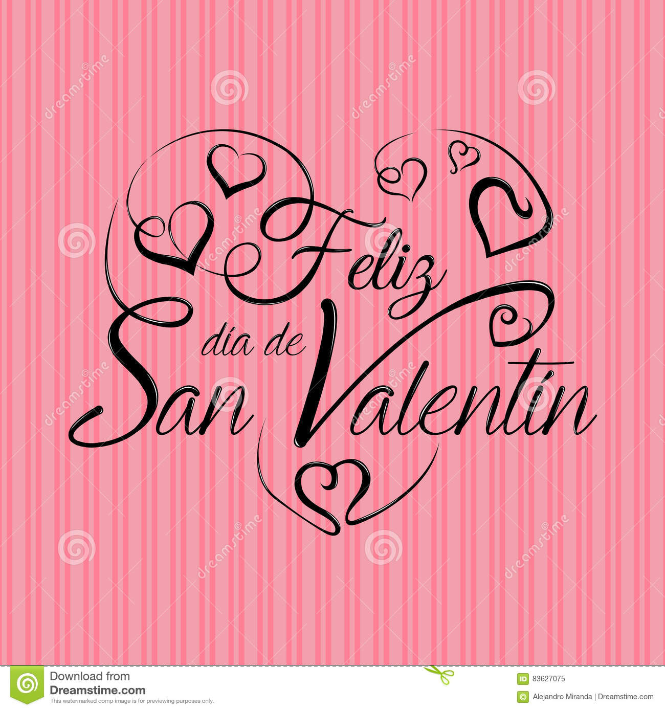 Lettering: Feliz Dia De San Valentin  Happy Valentines Day In Spanish  Language  In Black Ink On A Pink Background