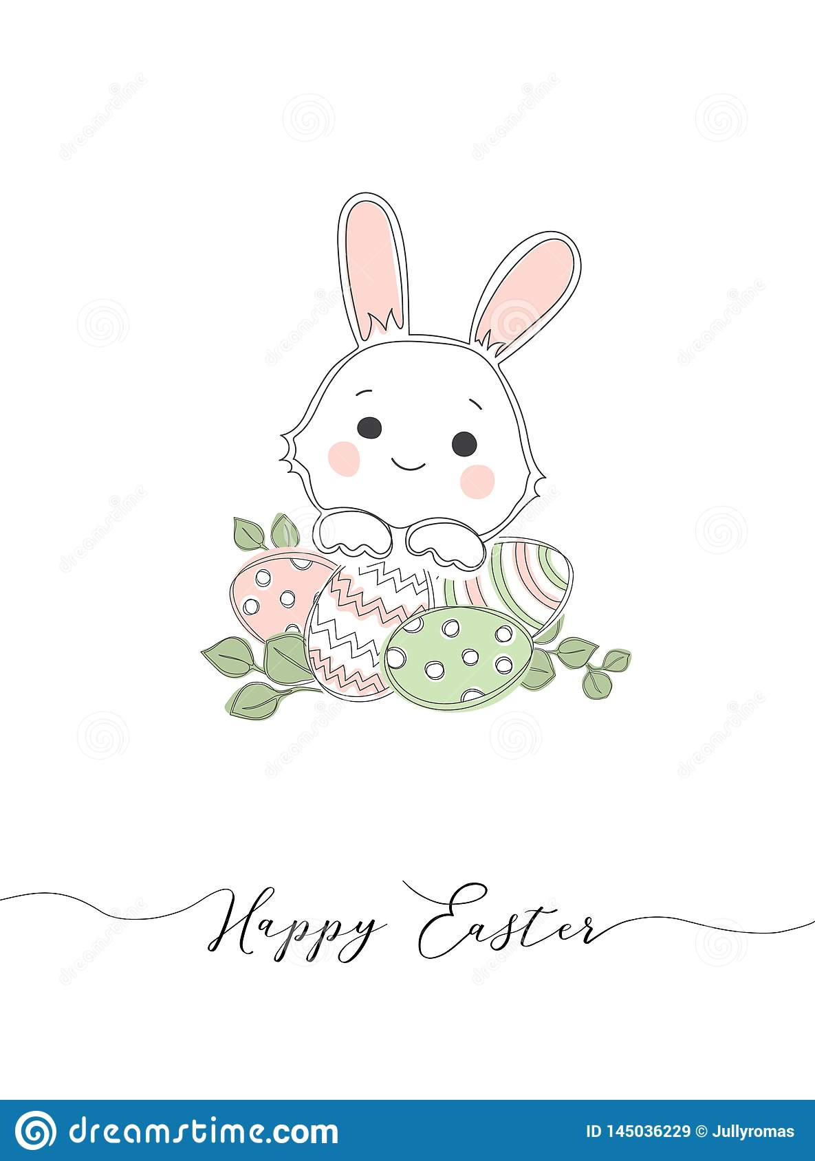Lettering Happy Easter and white bunny bottom on white background