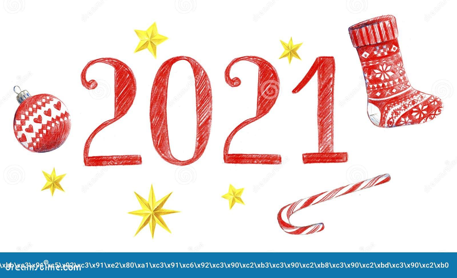 Lettering 2021. New Year Logo Stock Illustration ...