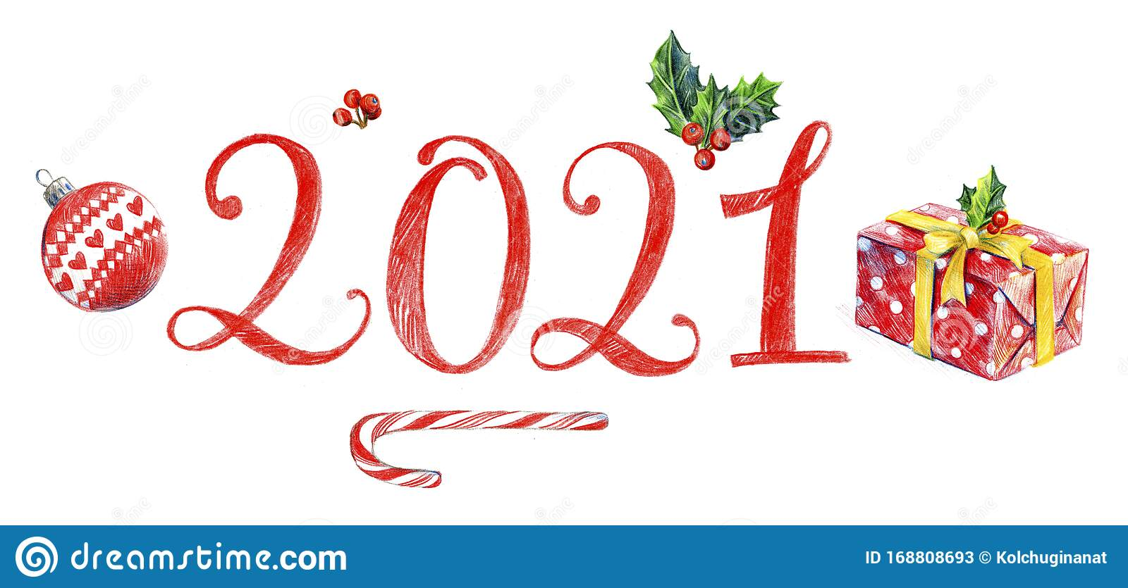 Lettering 2021. Happy New Year. Logo. Stock Illustration ...