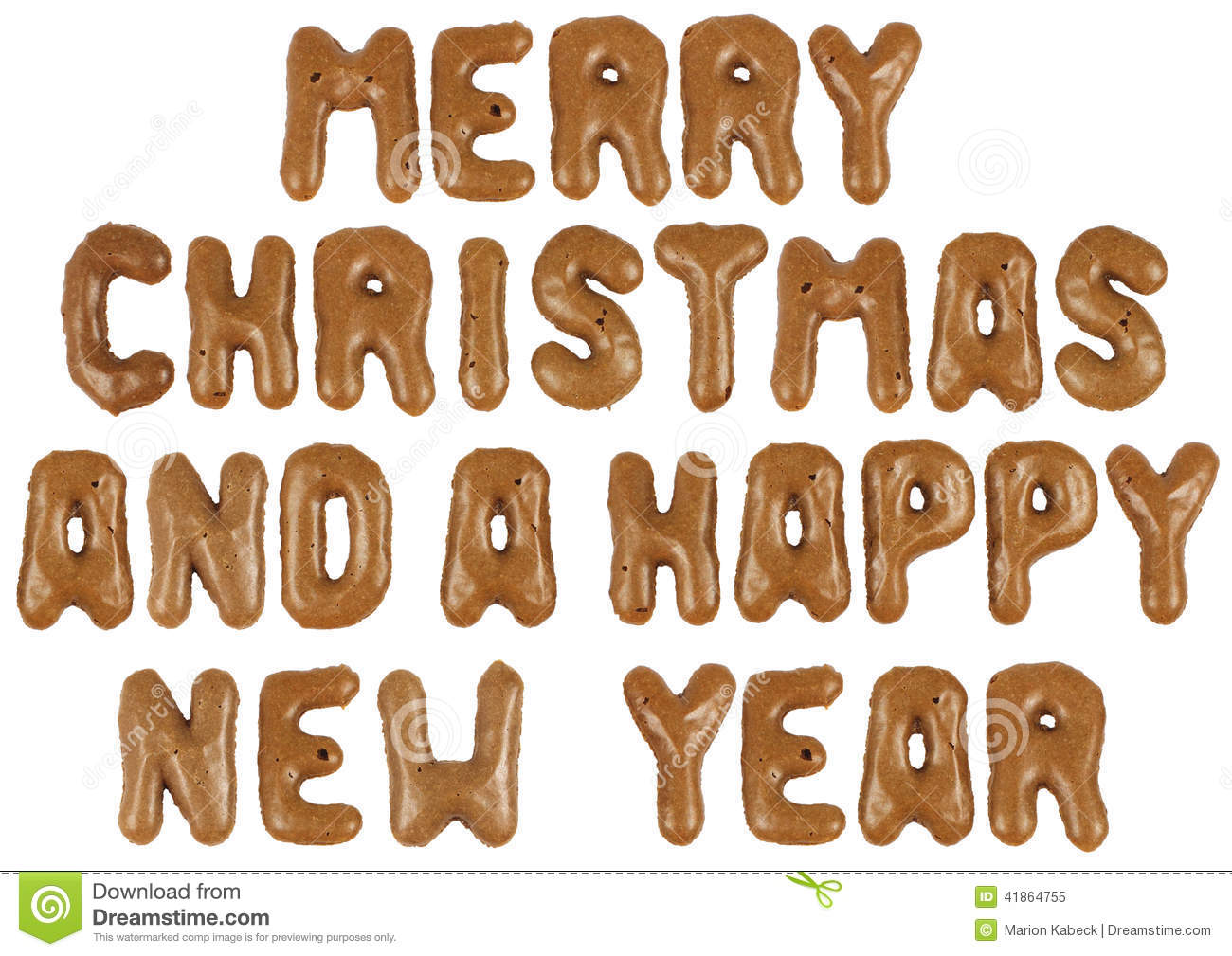 Lettering Of Holiday Wishes In Letter Biscuits Stock Photo
