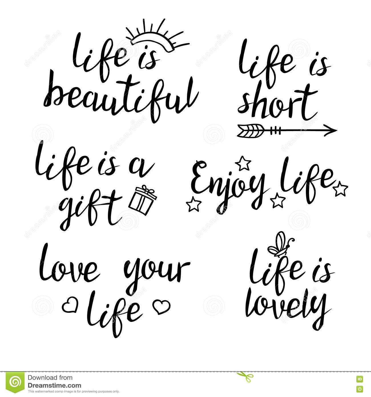 Lettering life quotes. stock vector. Illustration of ...