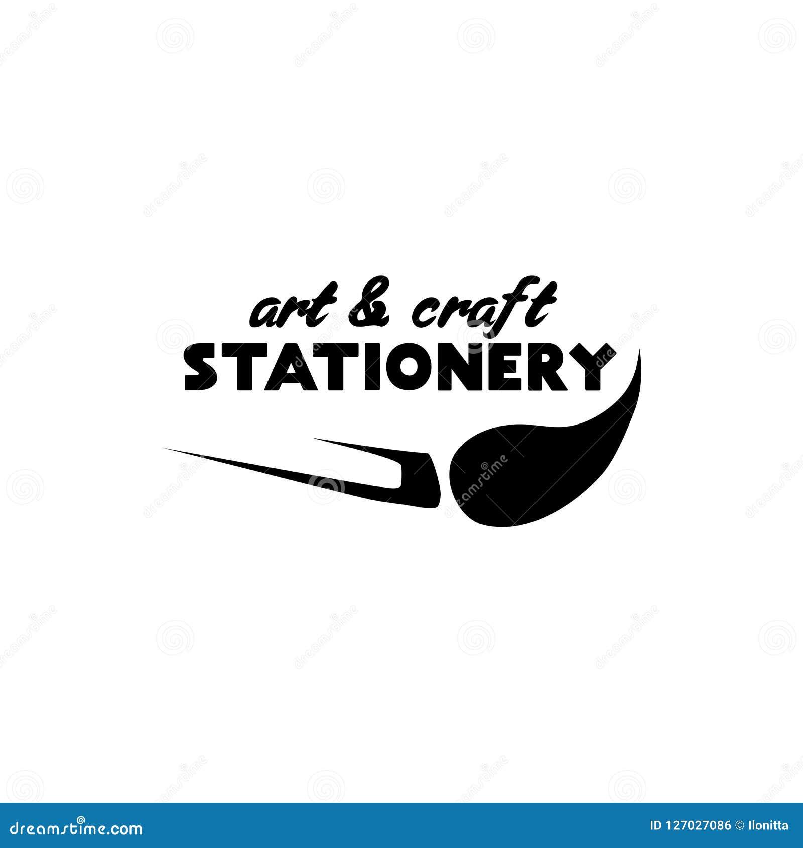 Lettering Logo Design For Stationery Store Stock Vector