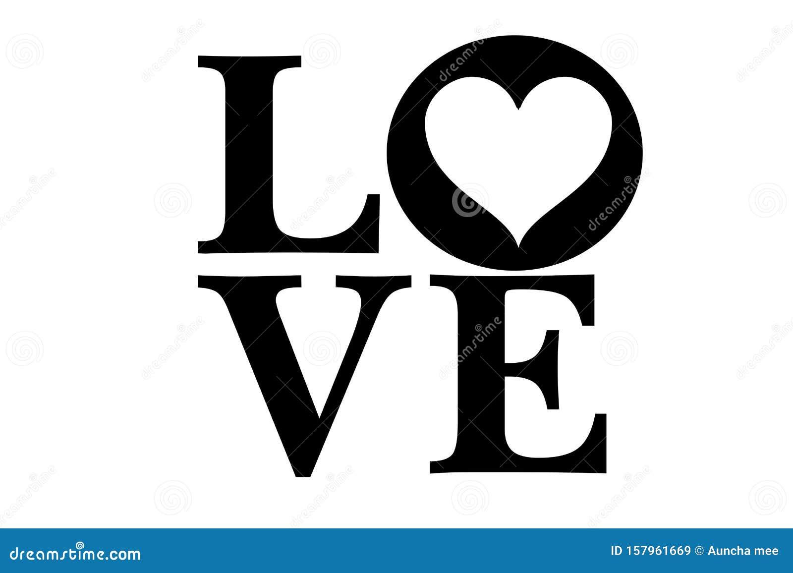 Lettering love on white background. Happy valentines day. Illustration design