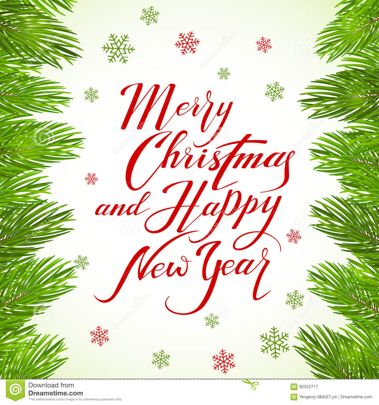 Lettering Merry Christmas And Happy New Year On White Background ...