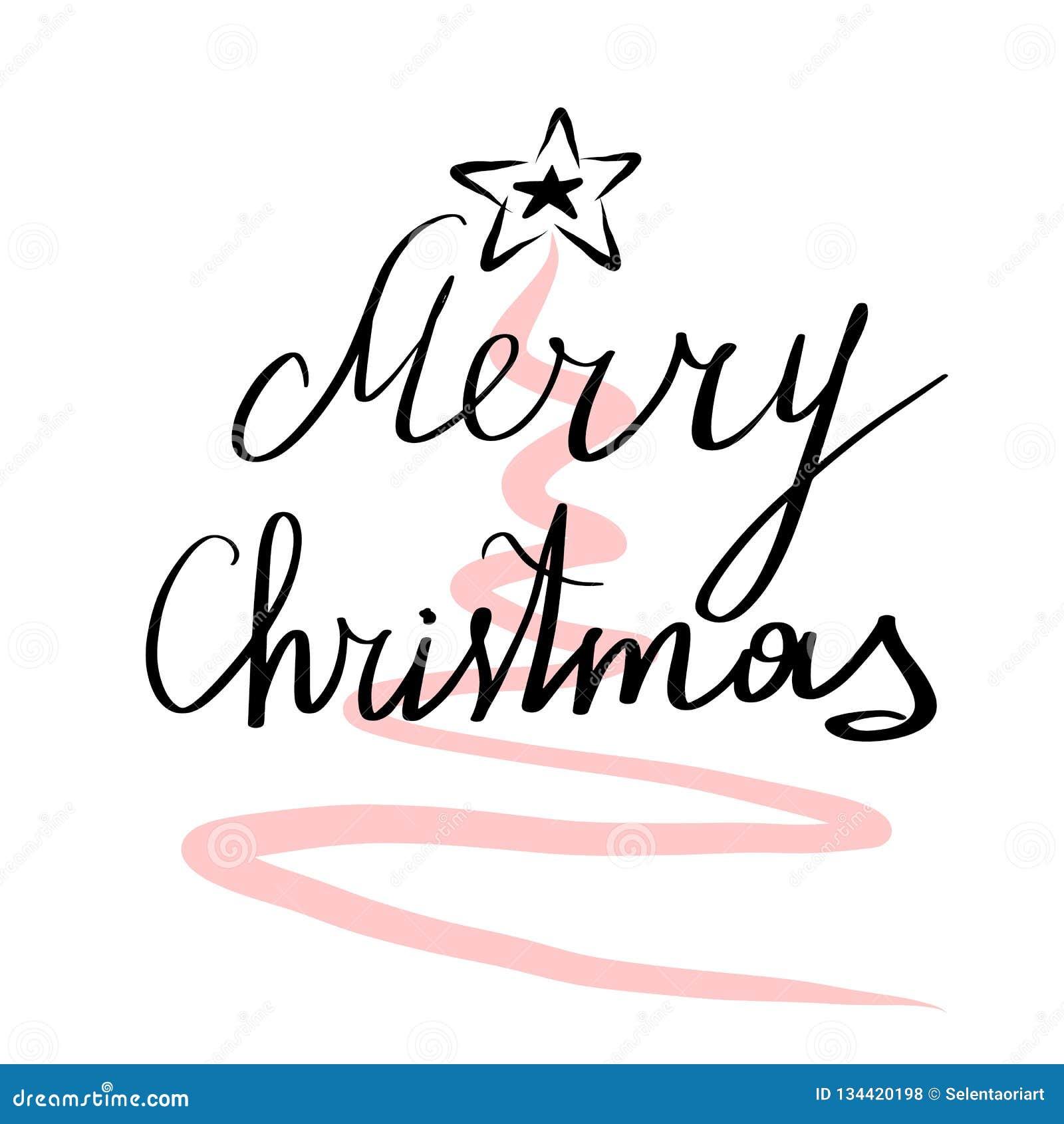 Lettering Merry Christmas Vector Illustration Stock Vector
