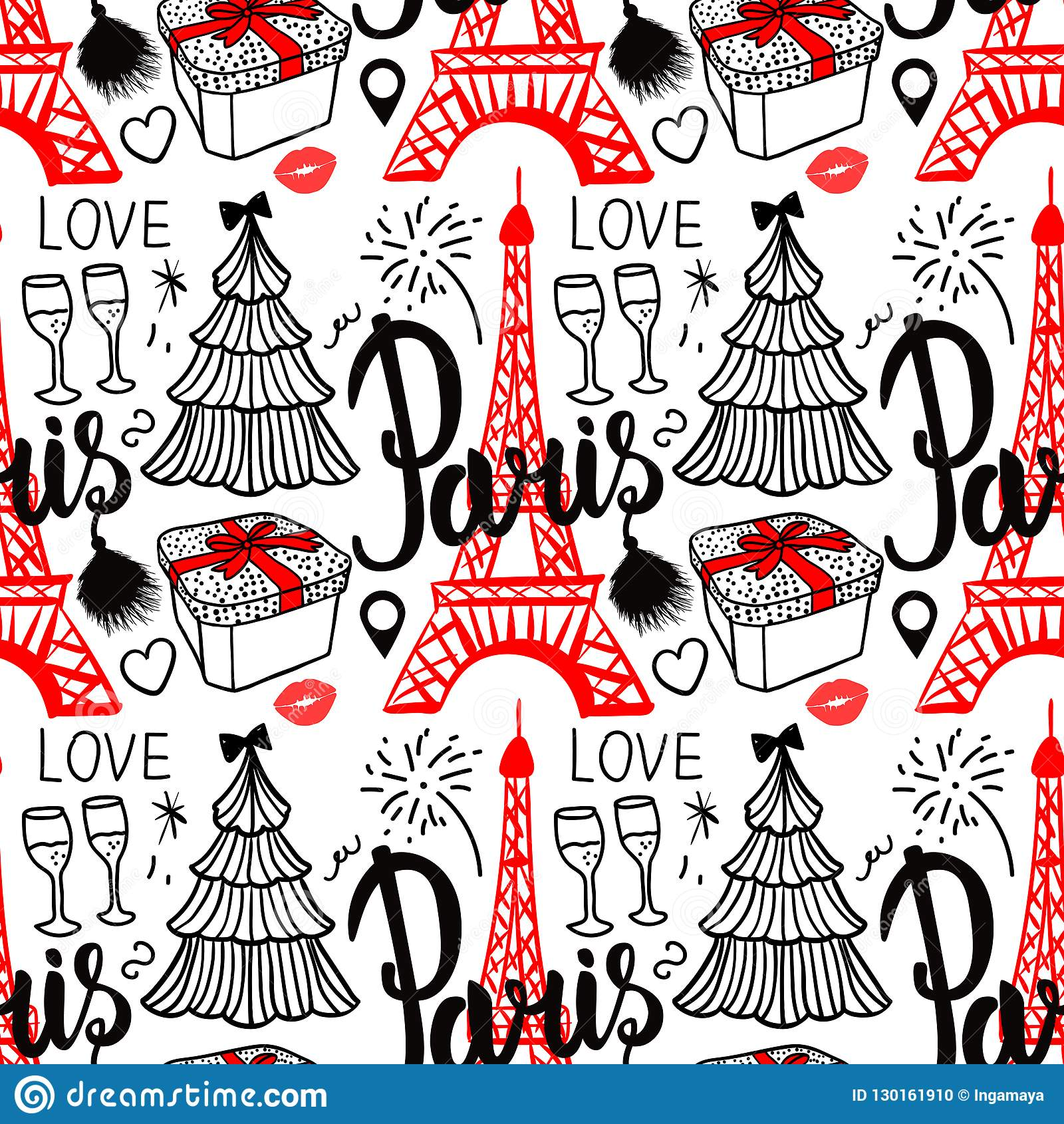Lettering Paris and Eiffel Tower. Seamless pattern Merry Christmas and Happy new year fashion sketch gift box, tree and