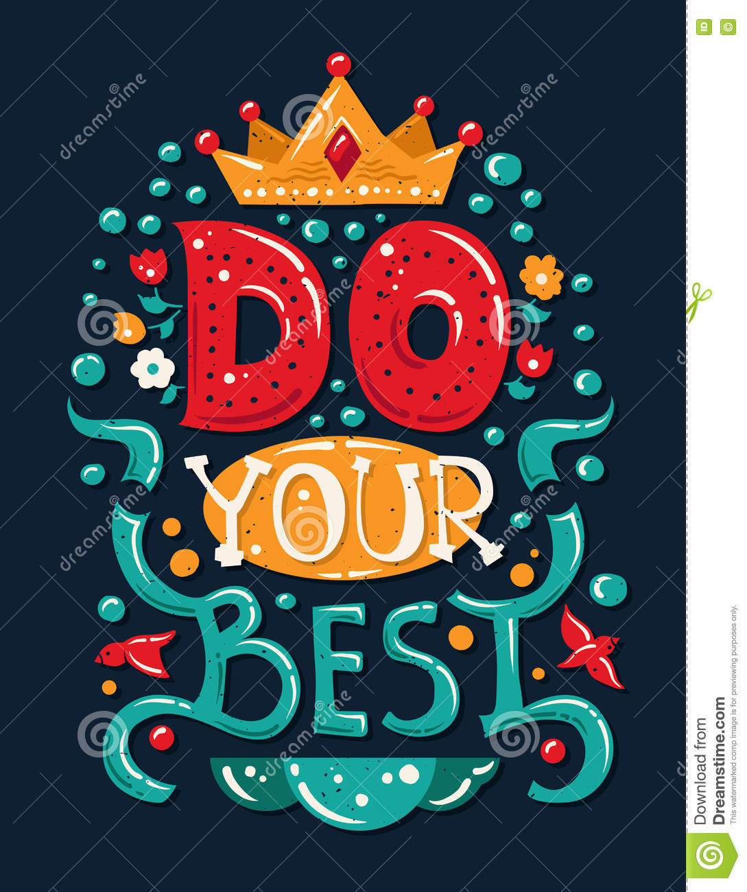 Lettering Phrase Do Your Best Stock Vector