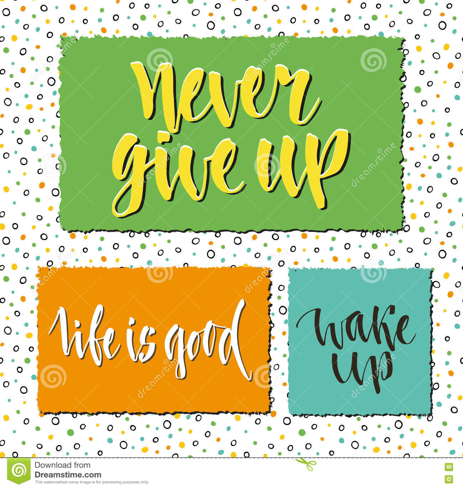 Motivational Phrases Lettering Set Of Postcards Stickers Or Bannersvector Design