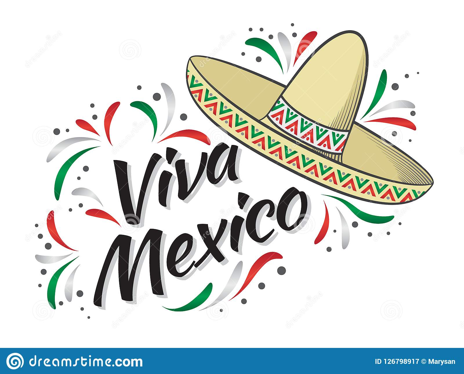 Lettering Viva Mexico Traditional Mexican Holiday Phrase Stock