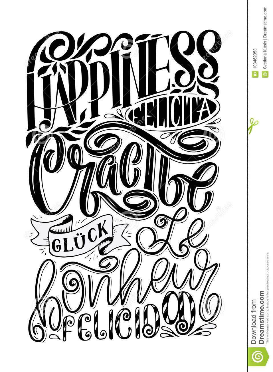 Lettering Word Happiness In Different Languages Calligraphy
