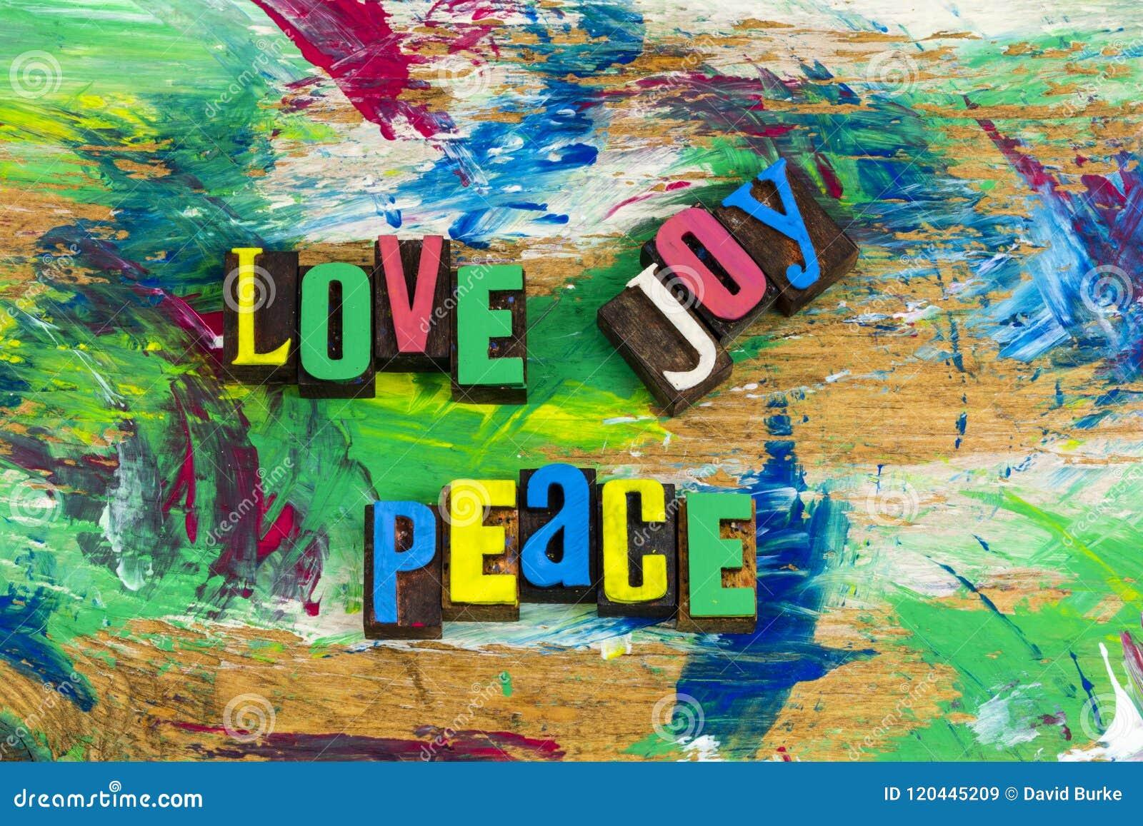 Love Joy Peace Comfort Letterpress Stock Image Image Of Blocks Wood 120445209