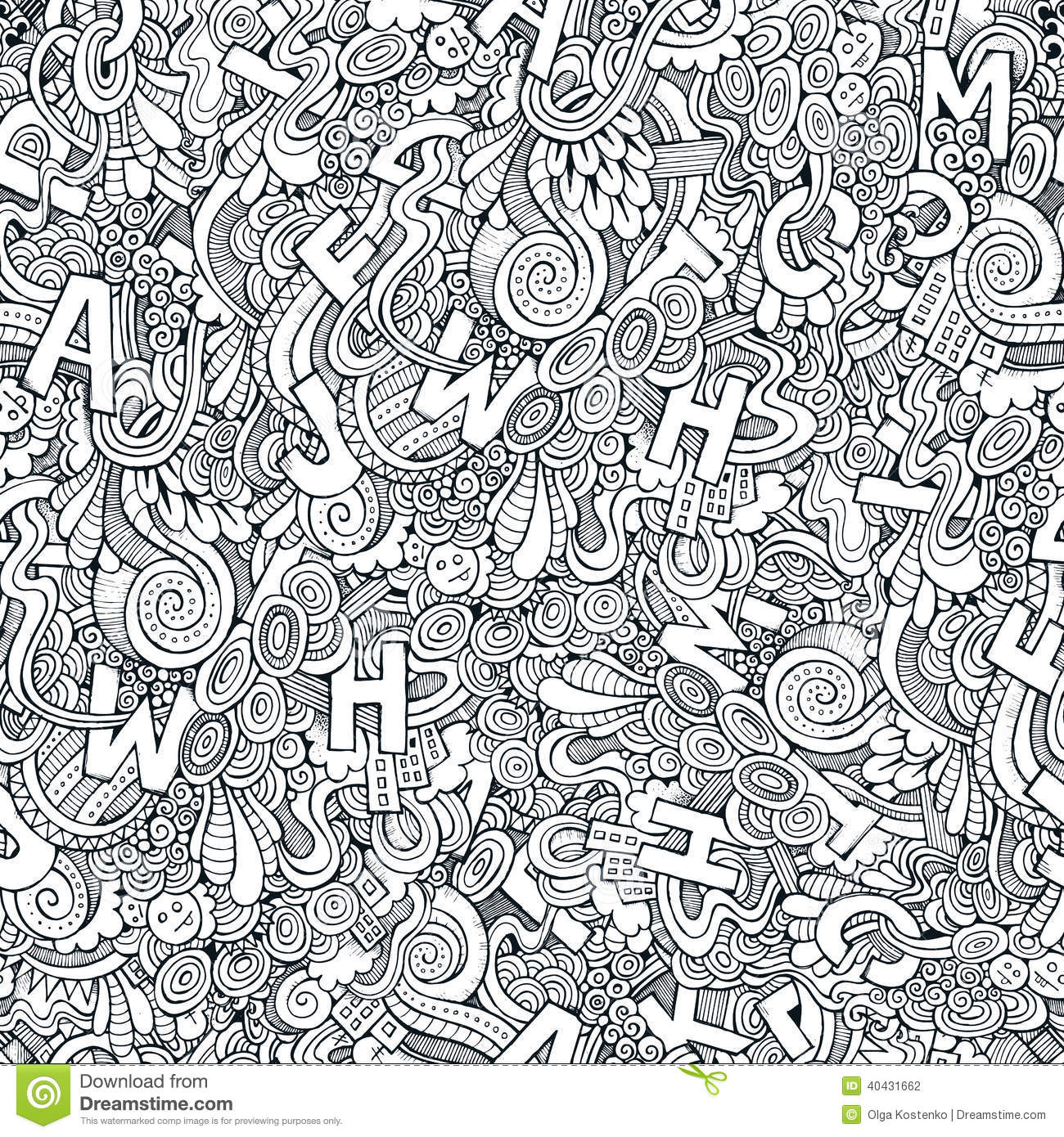 Letters Abstract Decorative Doodles Seamless Pattern Stock