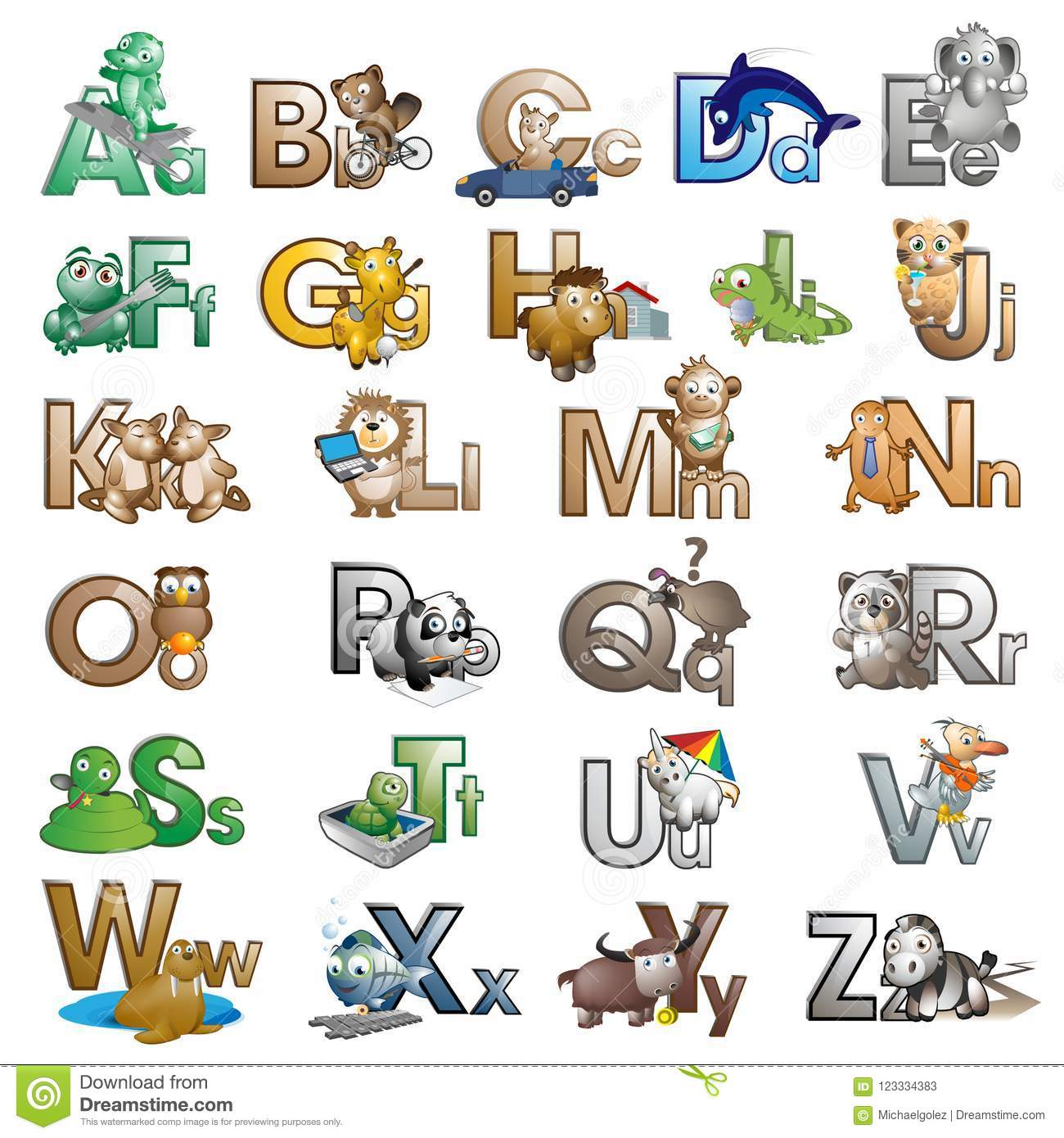 Cartoon Characters 8 Letters : Letters of the alphabet with cartoon characters stock illustration