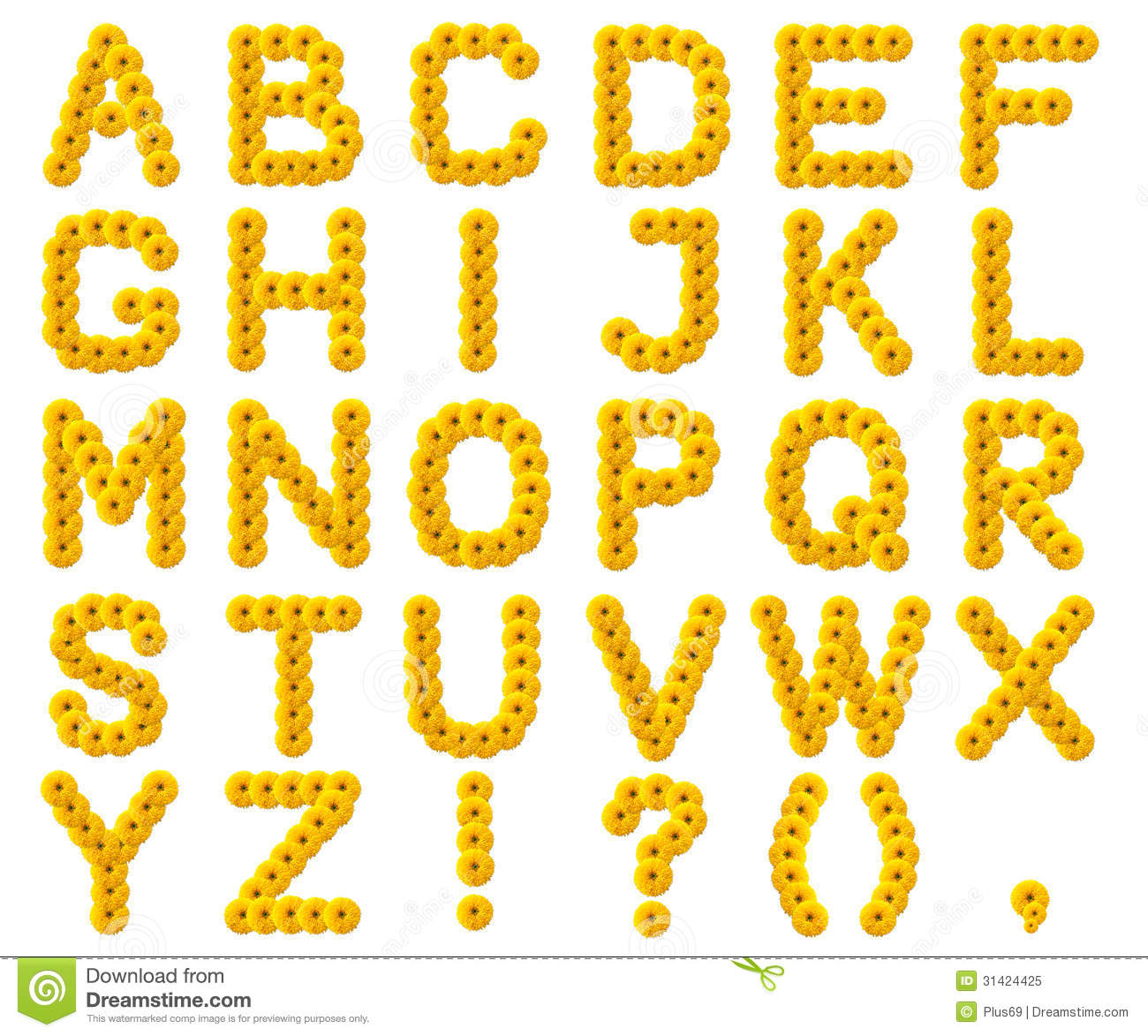 letters of the alphabet from yellow flowers stock