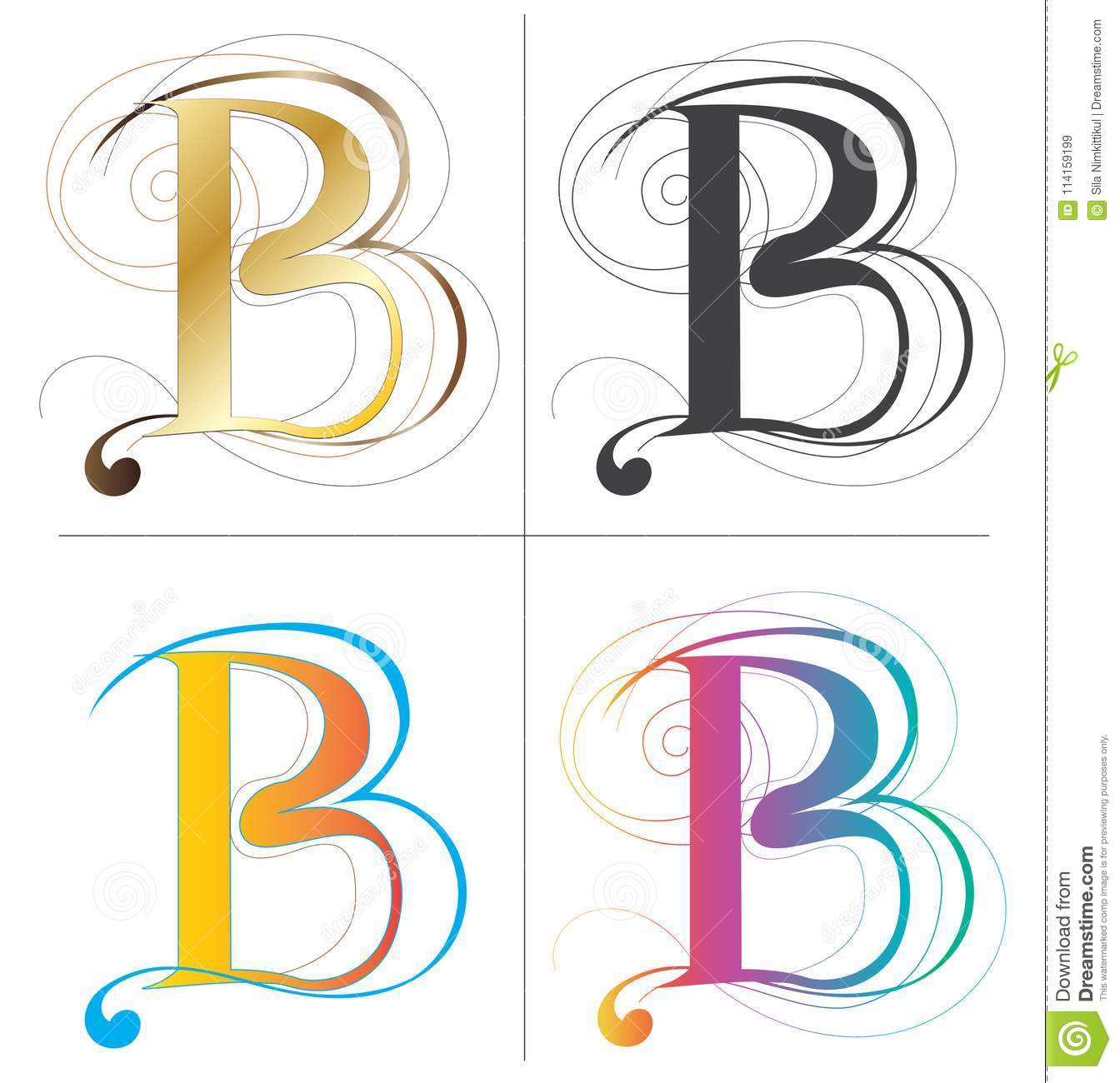 Letters B Alphabet Font Vector Design 4 Color Europe Style Isolate On White Has Clipping Paths