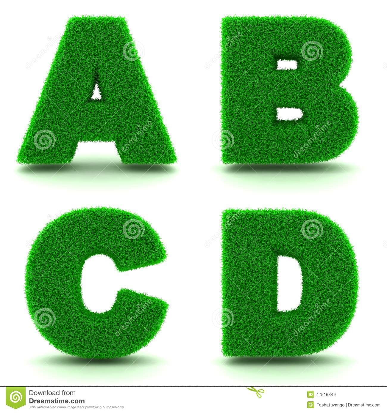 Letters A, B, C, D Of 3d Green Grass - Set. Stock ...