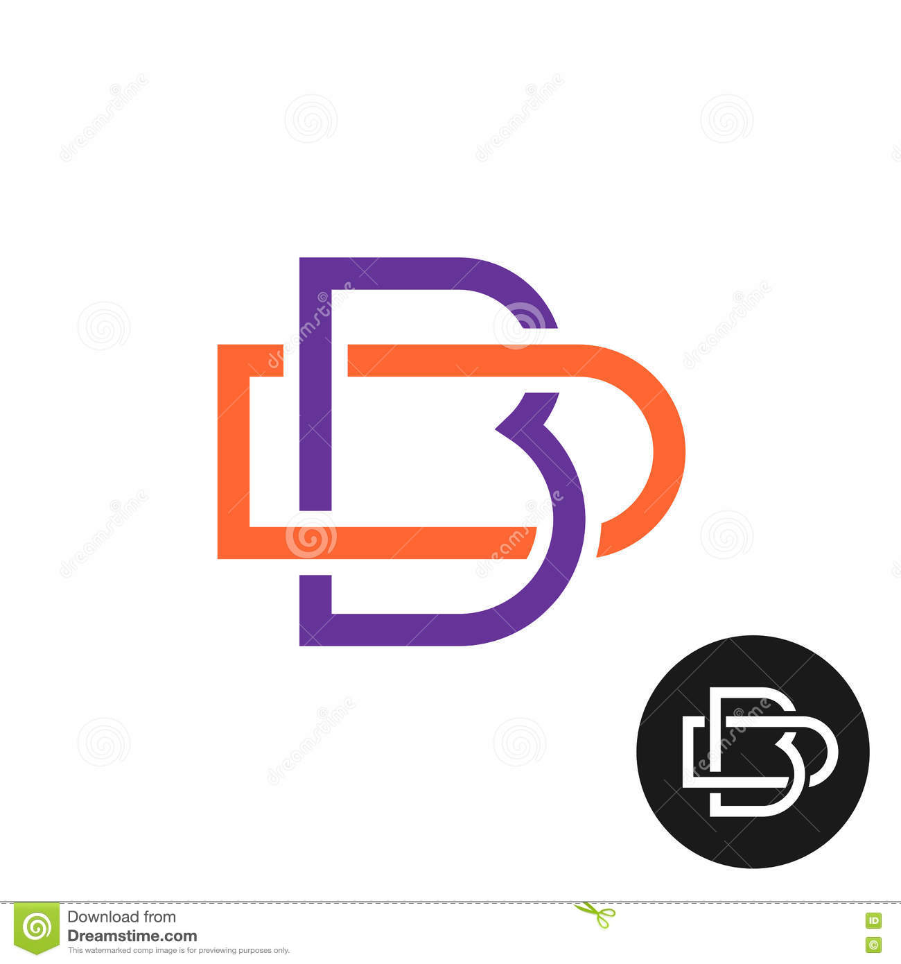Letters B And D Outline Style Weave Ligature Logo Stock Vector