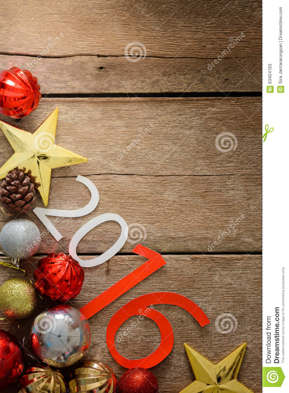Letters 2016 And Decorated Christmas Tree On Wooden Wall Stock Photo gmnnX9yI