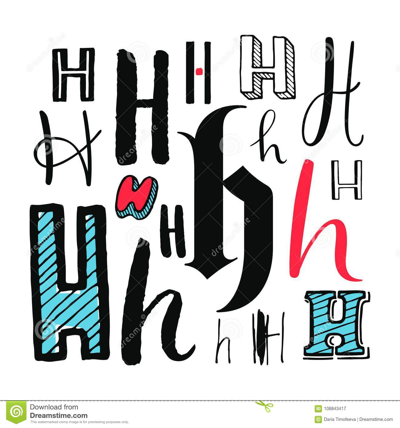 Letters H Set Different Styles Hand Drawn Illustration