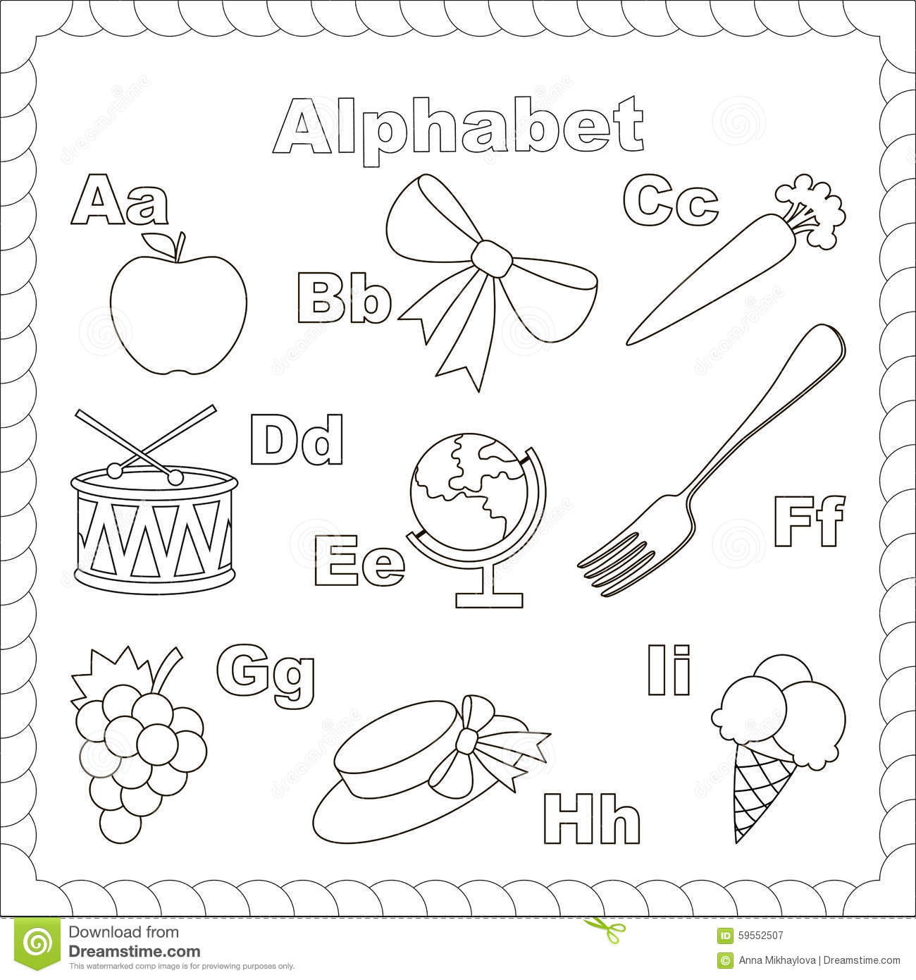 Letters A-i Stock Vector