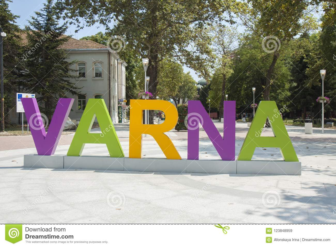 VARNA, BULGARIA - AUGUST 14, 2015: Letters With Name Of Town On