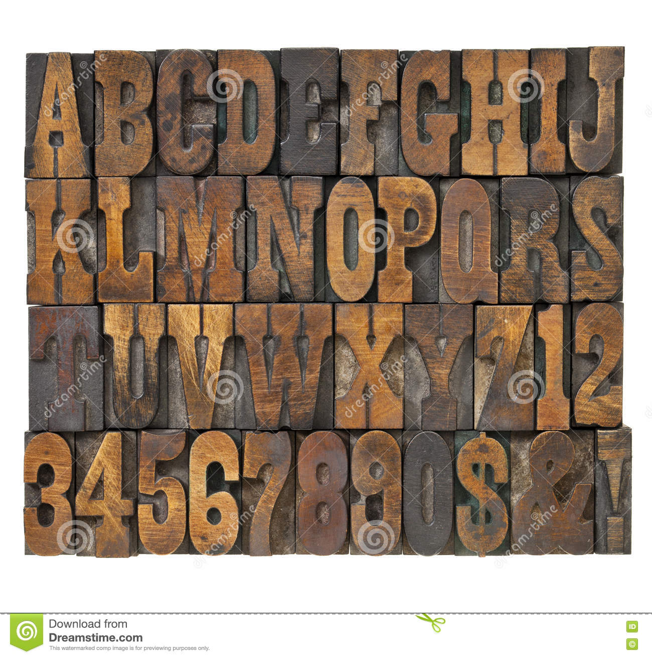 Letters and numbers abstract in vintage type