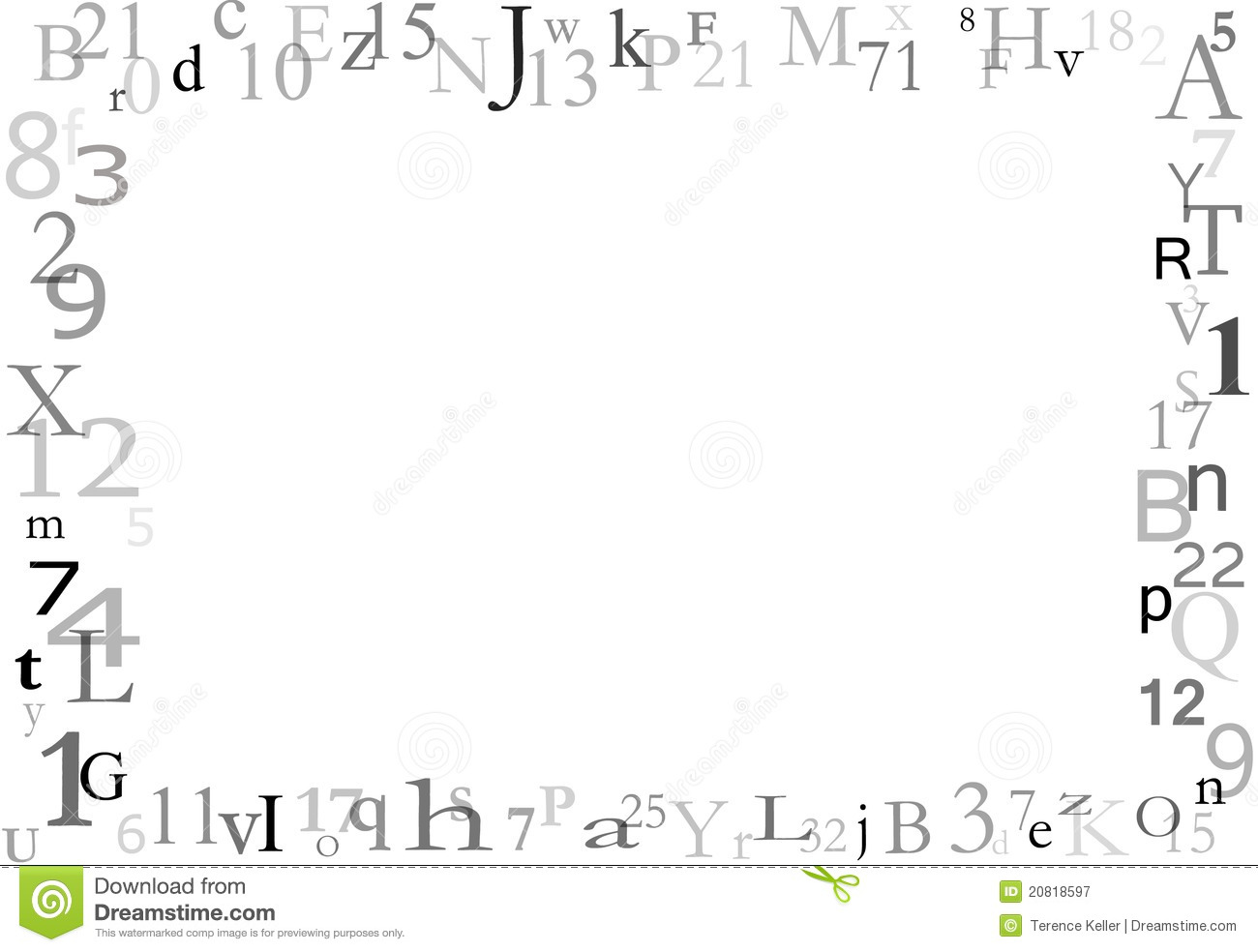 Letters And Numbers Border Background Stock Illustration ... Number Border Black And White