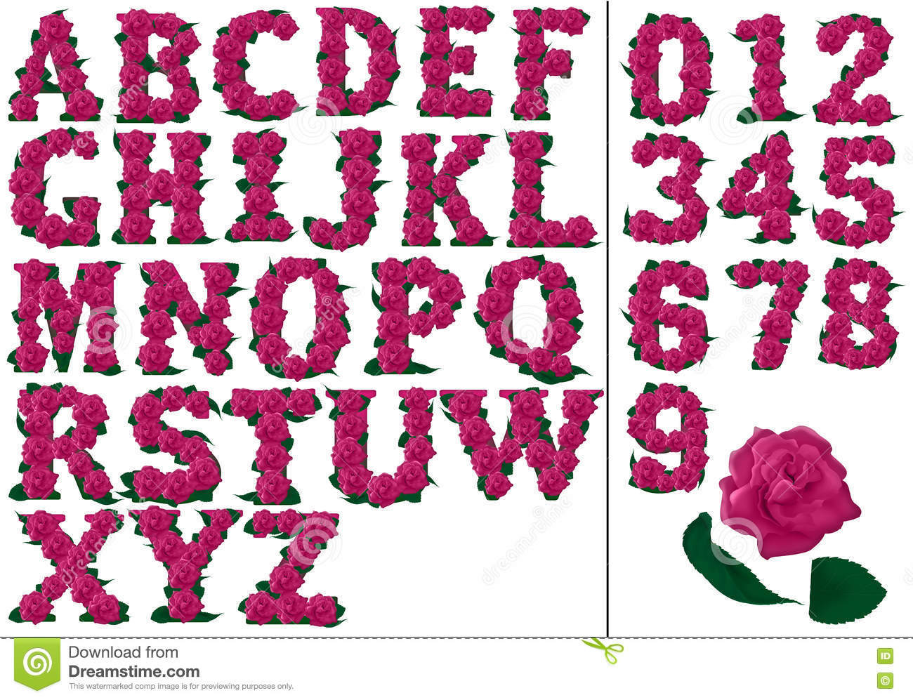 Letters And Numbers Pink Floral Illustration Stock Photo ...