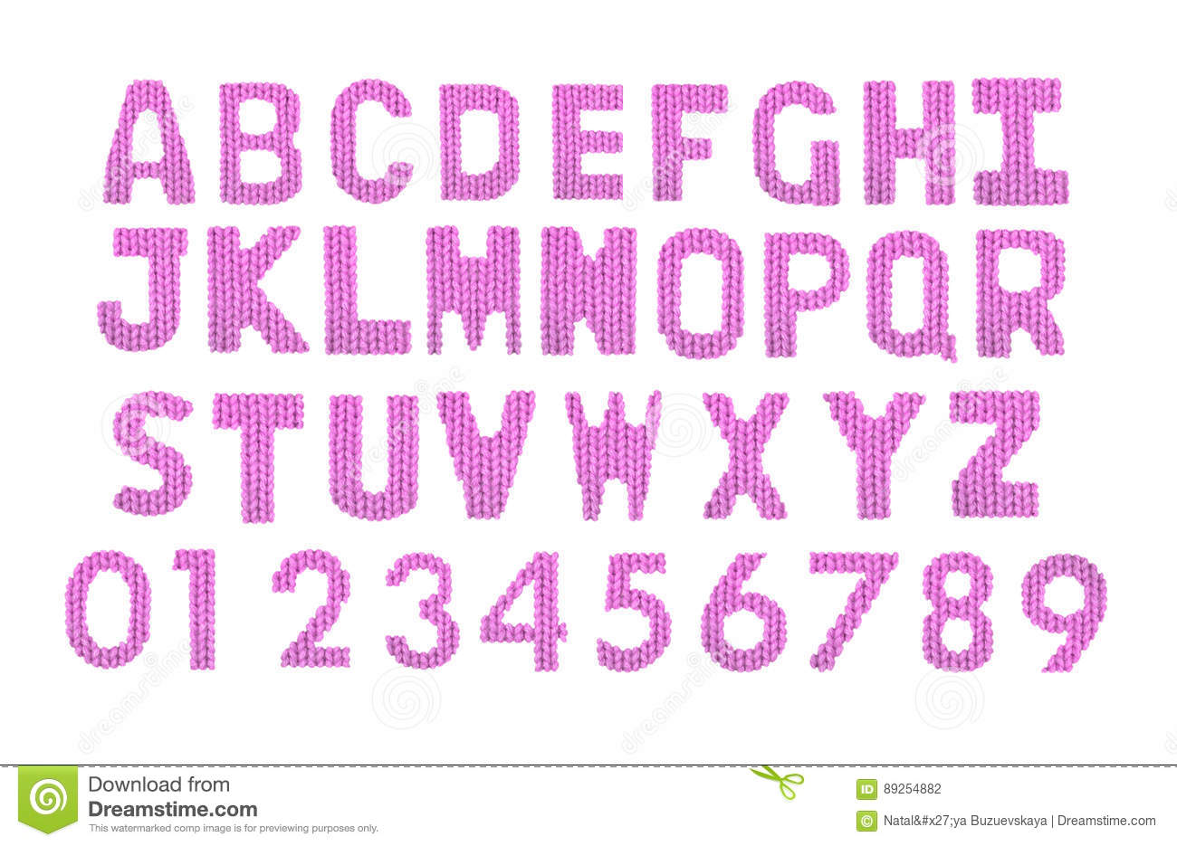 Letters And Numerals English Alphabet. Color Pink Stock Photo ...