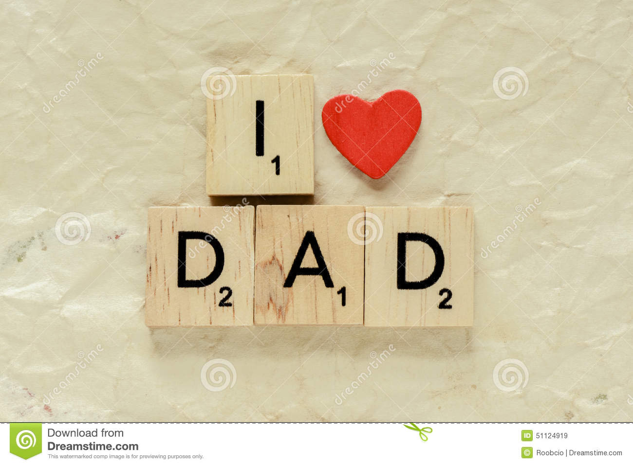 letters spelling i love dad