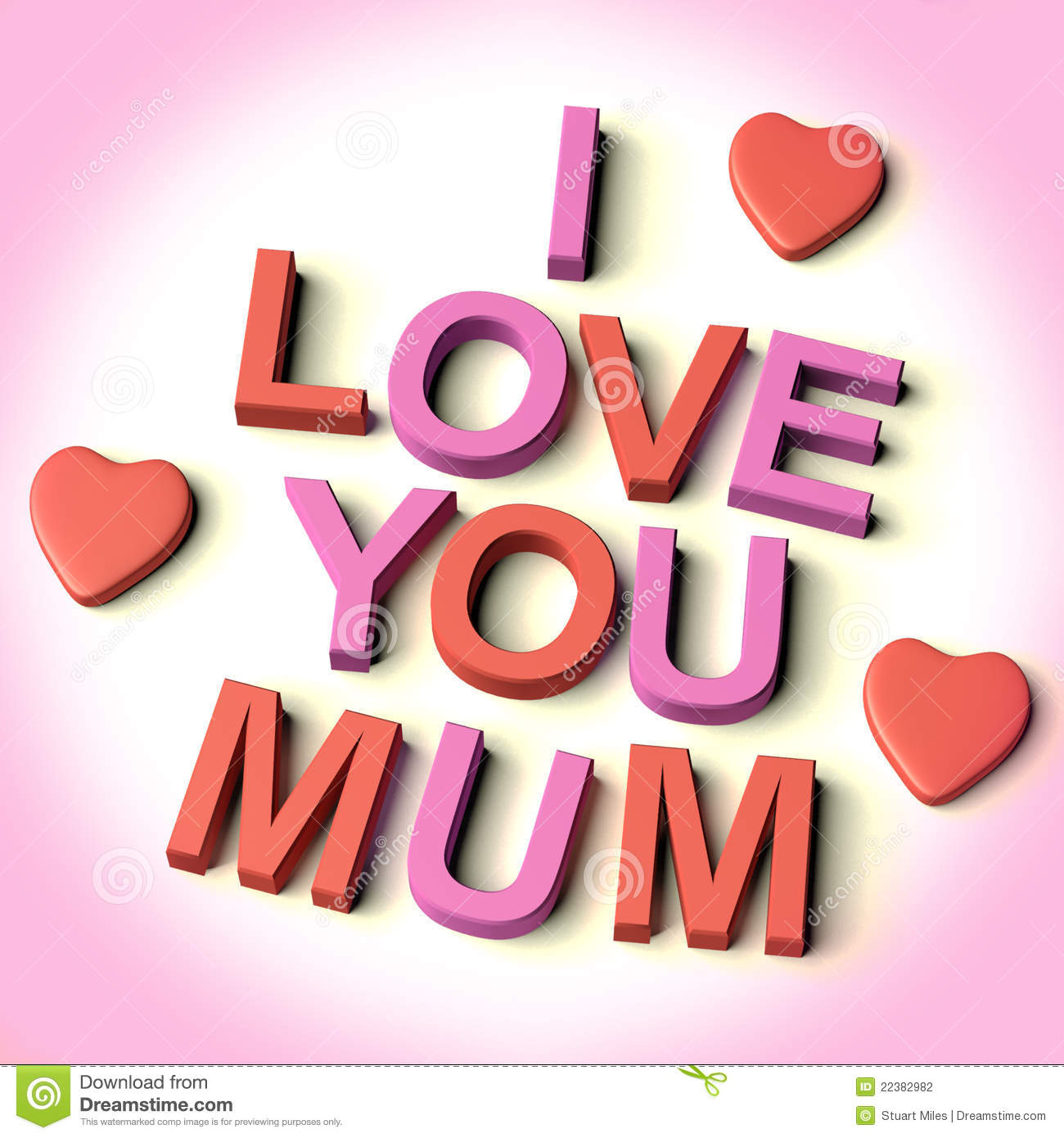 Red And Pink Letters Spelling I Love You Mum With Hearts As Symbol for ...