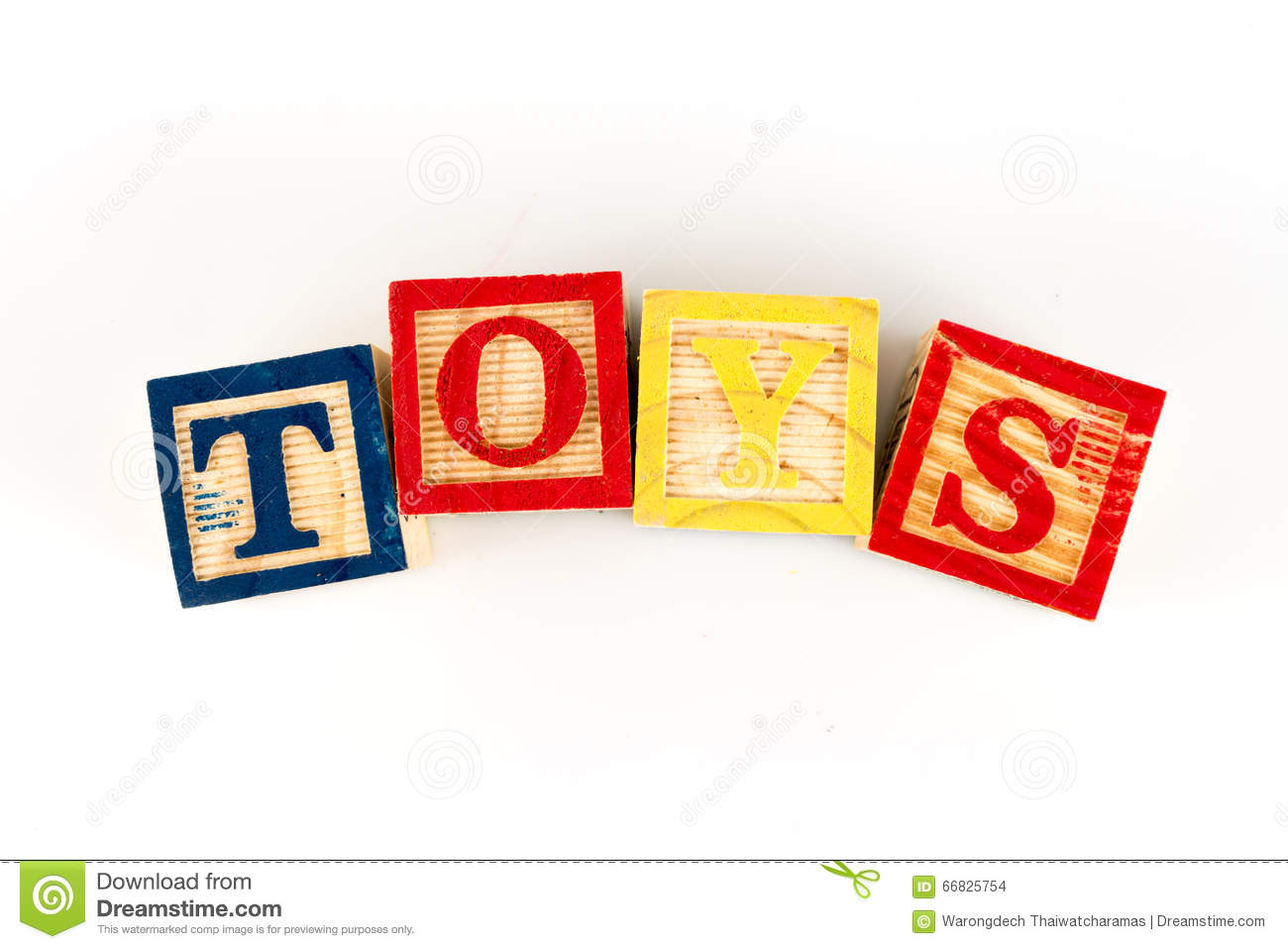 The Letters TOYS Spelling Toys With Wooden Blocks Stock Photo