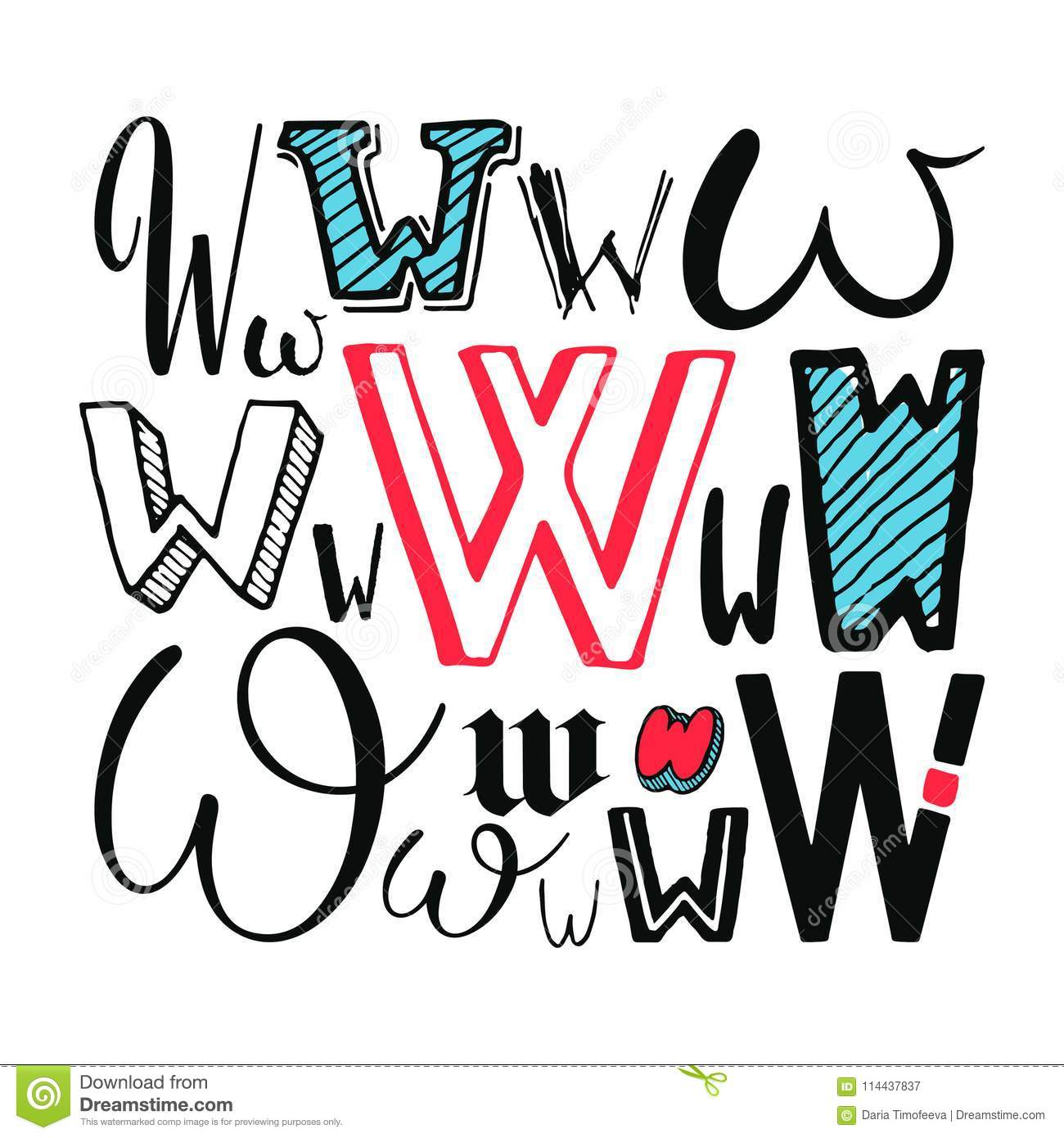 Letters W Set Different Styles Hand Drawn Illustration