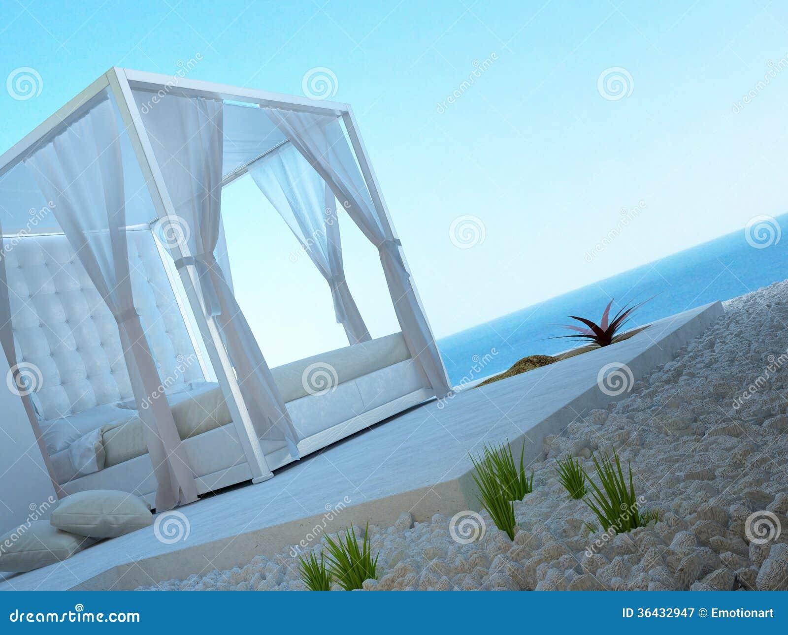 Letto a baldacchino bianco che sta all 39 aperto con la vista di vista sul mare illustrazione di - Letto a baldacchino bianco ...