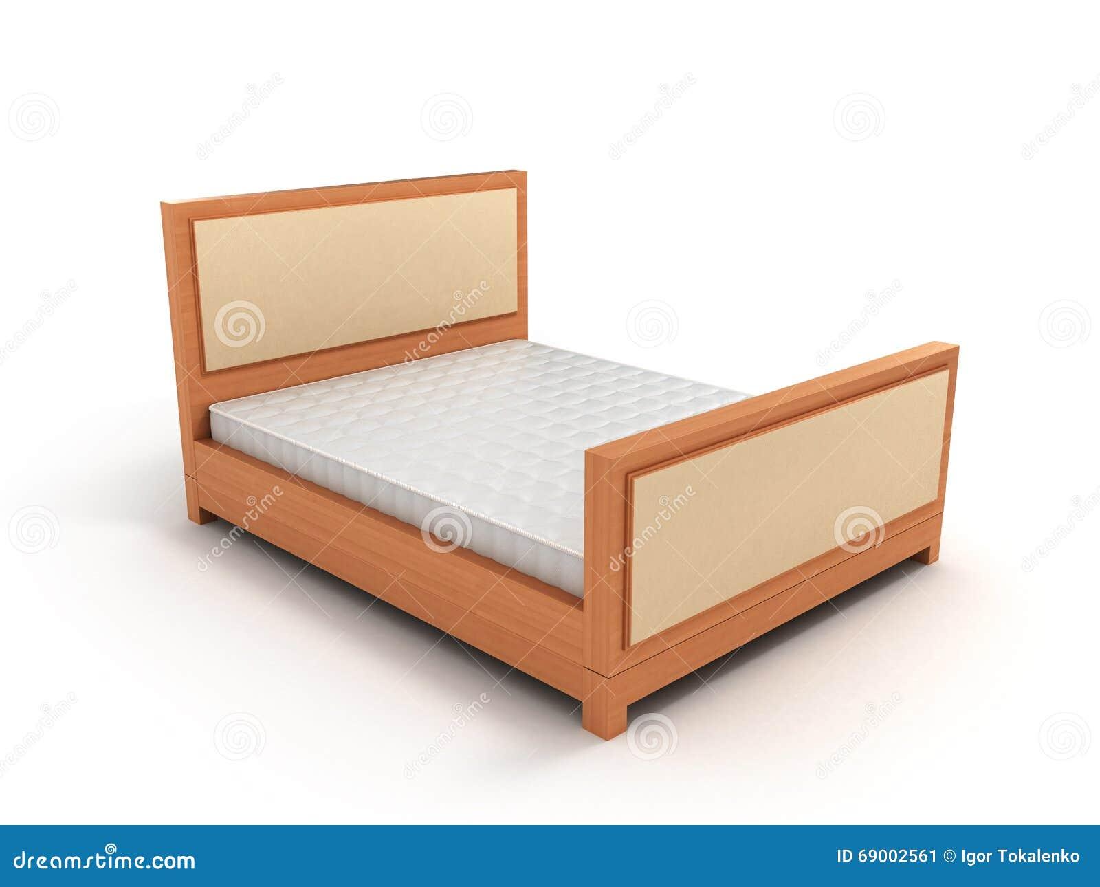 Base Letto Legno : Letto di legno con un materasso su fondo bianco illustrazione di