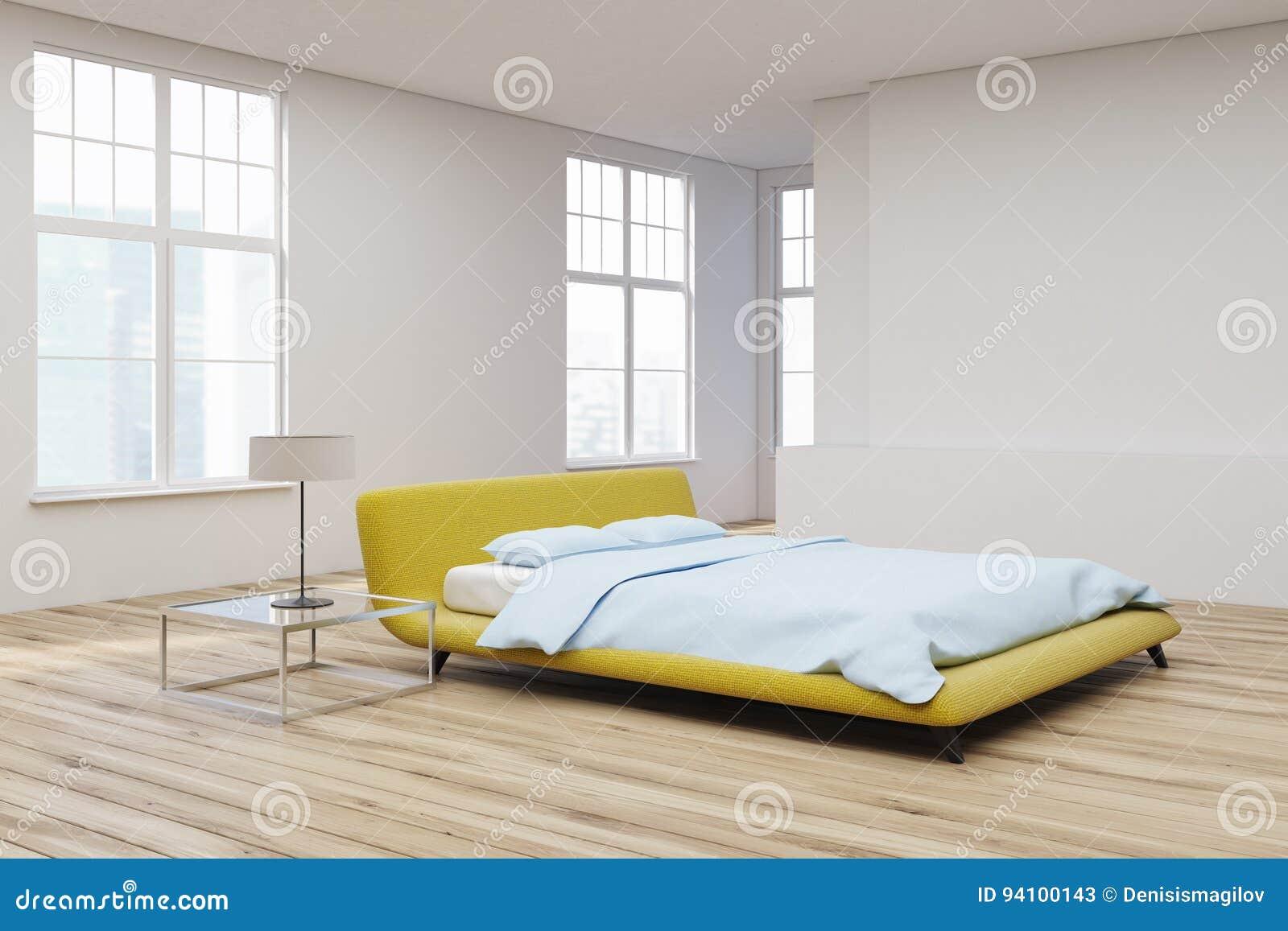 Letto Matrimoniale Giallo : Letto giallo vista di legno dellangolo del pavimento illustrazione