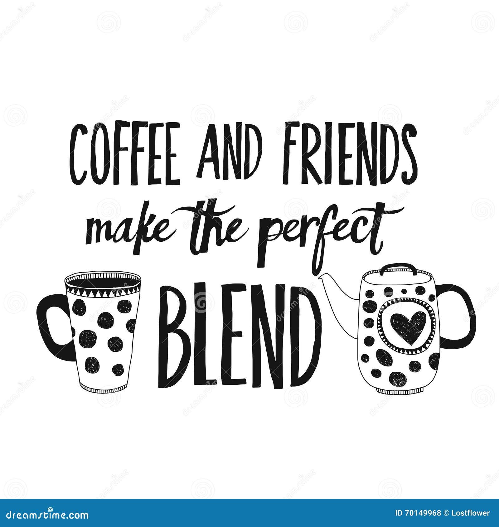 Lettrage avec la citation au sujet du café