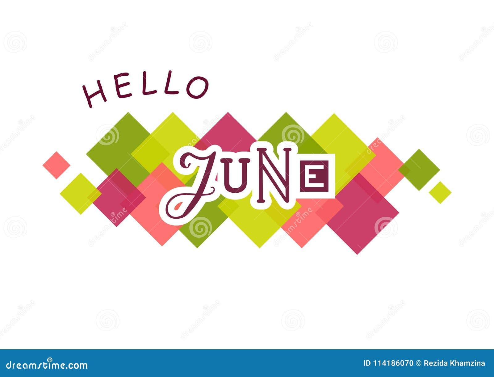 Lettrage bonjour de juin avec différentes lettres et contours blancs décorés des places colorées